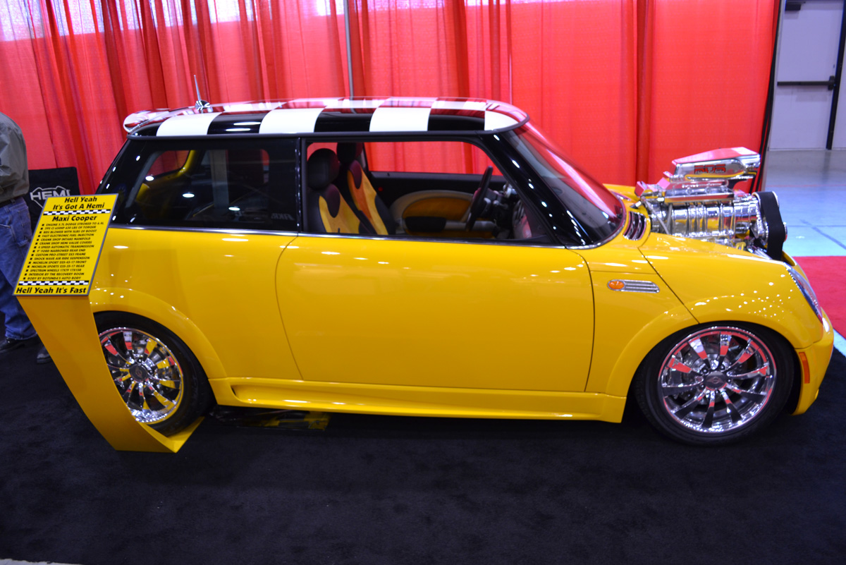 Muscle car, ( torque thrust american racing) wheels on a tuner mini ...